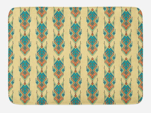 Lunarable Aztec Bath Mat, Tribal Vintage Pattern with Mexican Culture Inspired Design Colorful Shapes, Plush Bathroom Decor Mat with Non Slip Backing, 29.5 W X 17.5 W Inches, Petrol Blue Peach by Lunarable