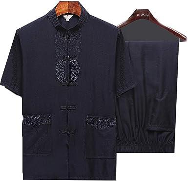 Traje Tang Hombre Ropa Tradicional China Trajes Abrigo de Manga Corta de algodón Hanfu Abrigo para Hombre Tops: Amazon.es: Ropa y accesorios