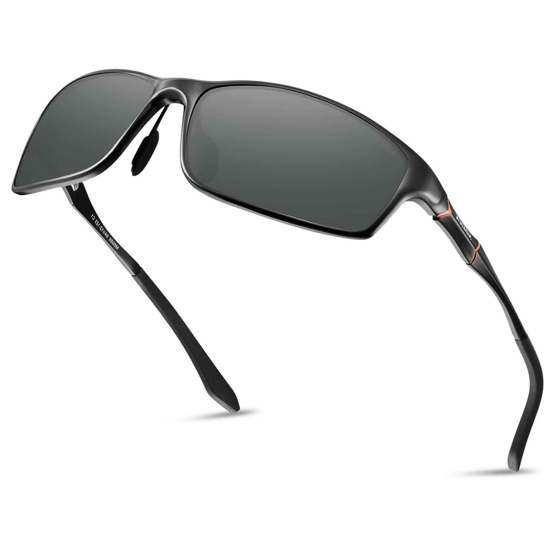 5d55fed068 Soxick Men s Polarized Sunglasses UV400 Retro Unbreakable Metal ...