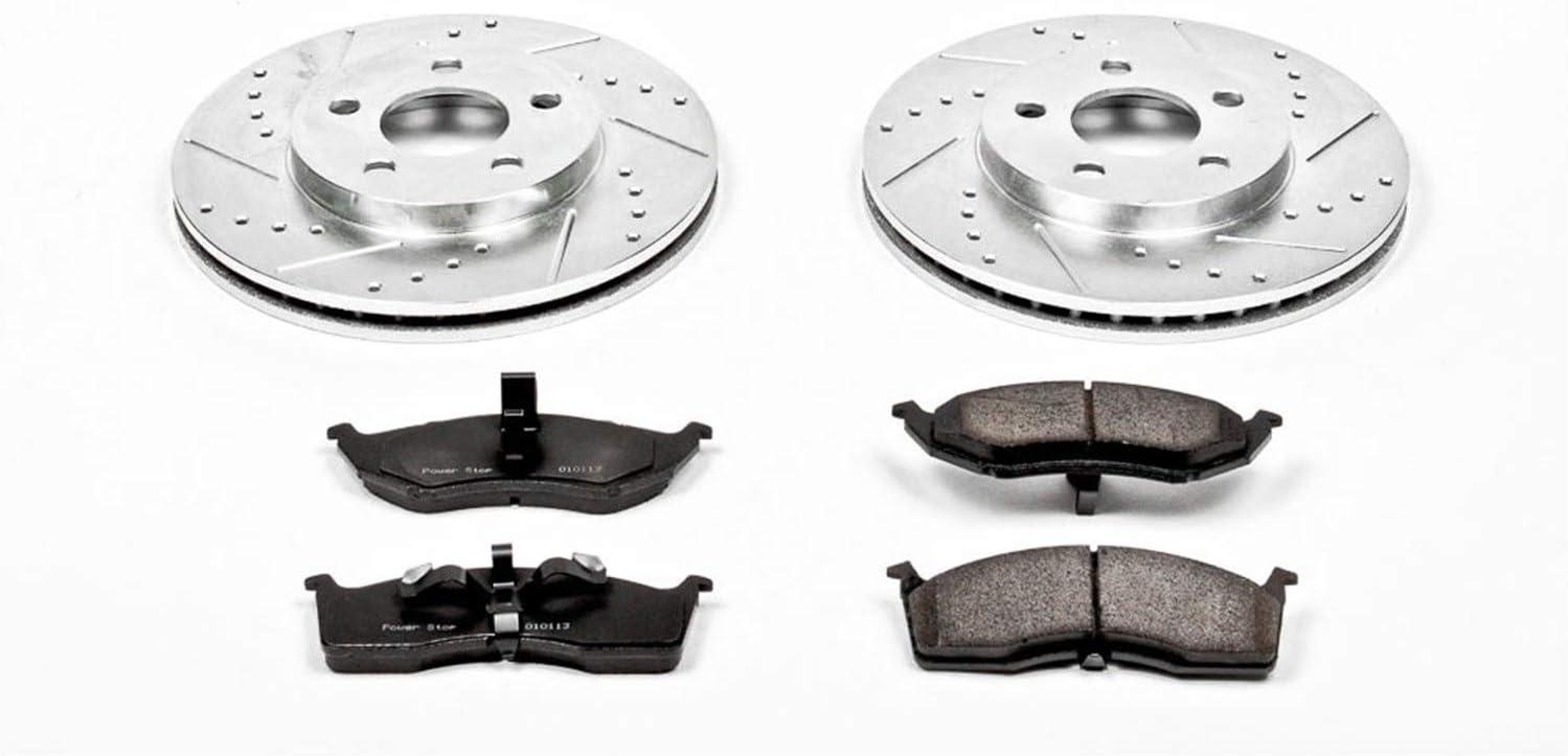 Power Stop K3143 Front Brake Kit with Drilled//Slotted Brake Rotors and Z23 Evolution Ceramic Brake Pads