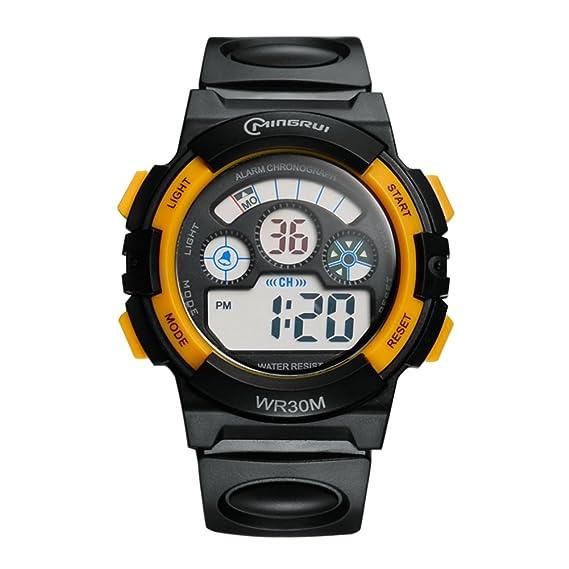Relojes para niños/ el muchacho digital relojes/Multifuncional luminosa corriente estudiante hoja/ natación Cronógrafo -E: Amazon.es: Relojes
