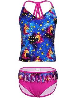 1ae48f3810825 Amazon.com  Firpearl Girls Two Piece Swimsuit Rainbow Unicorn Print ...