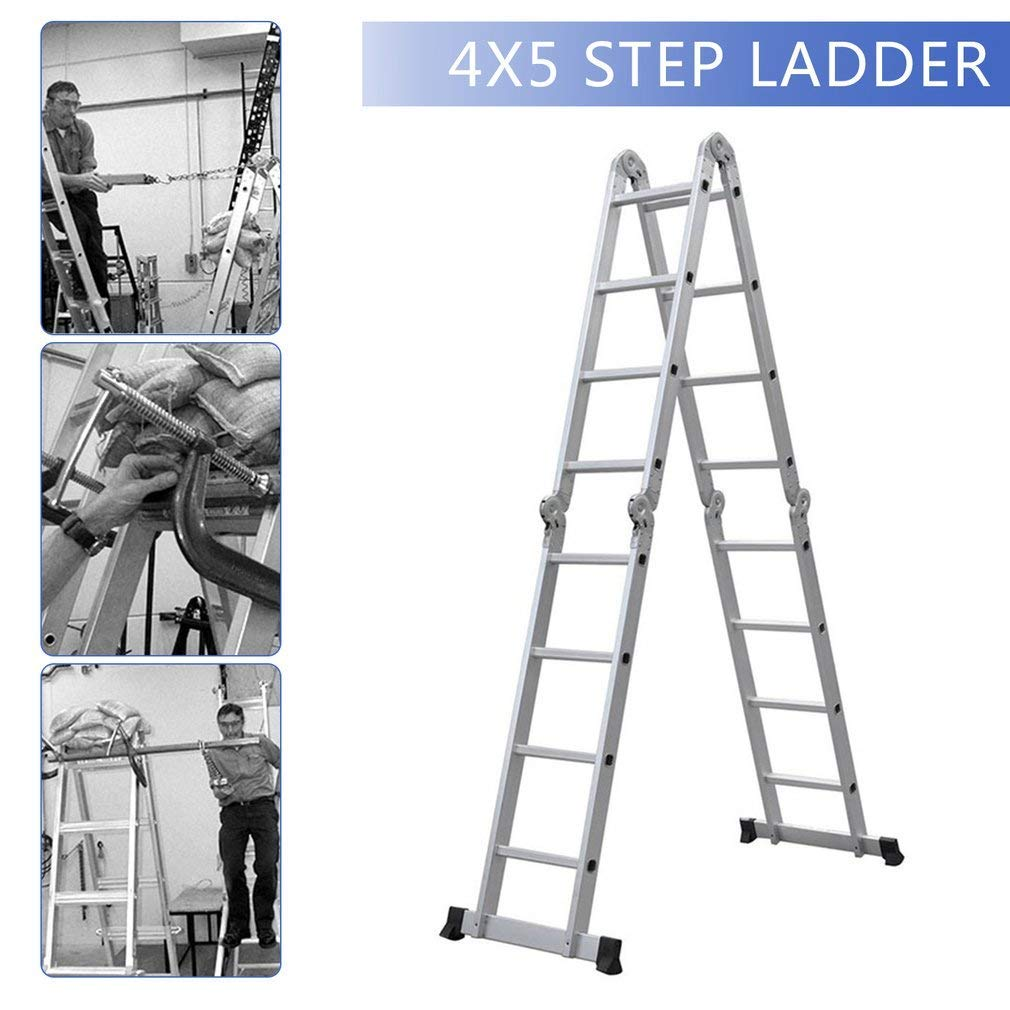14-in-1 4x4 Aluminium Multi Purpose Folding Extension Ladder 4 7M 15 5FT  Heavy Duty Combination Step 1 Painting Tray Manufactured to EN131 Up to