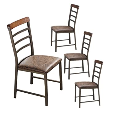 O&K Furniture Industrial Metal Restaurant Chairs, Ladder Back Kitchen Dining Side Chair (Set of 4)