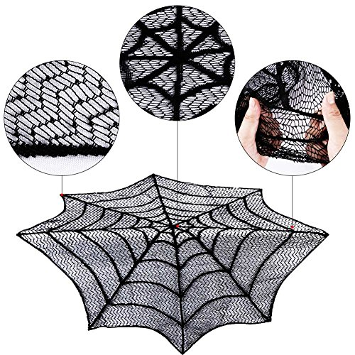 Gigamax(TM) Halloween Table Cloth Sp id er Web Black Lace Round 30inch Tablecloth For Halloween Decoration Party Supplies Home Textile