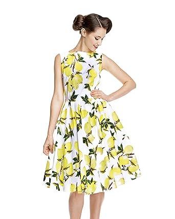 Lindy Bop Audrey Lemon Print Swing Dress Size - 14