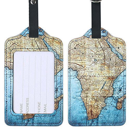 Lizimandu PU Leather Luggage Tags Suitcase Labels Bag Travel Accessories - Set of 2 (World Map) - 2 Map Set