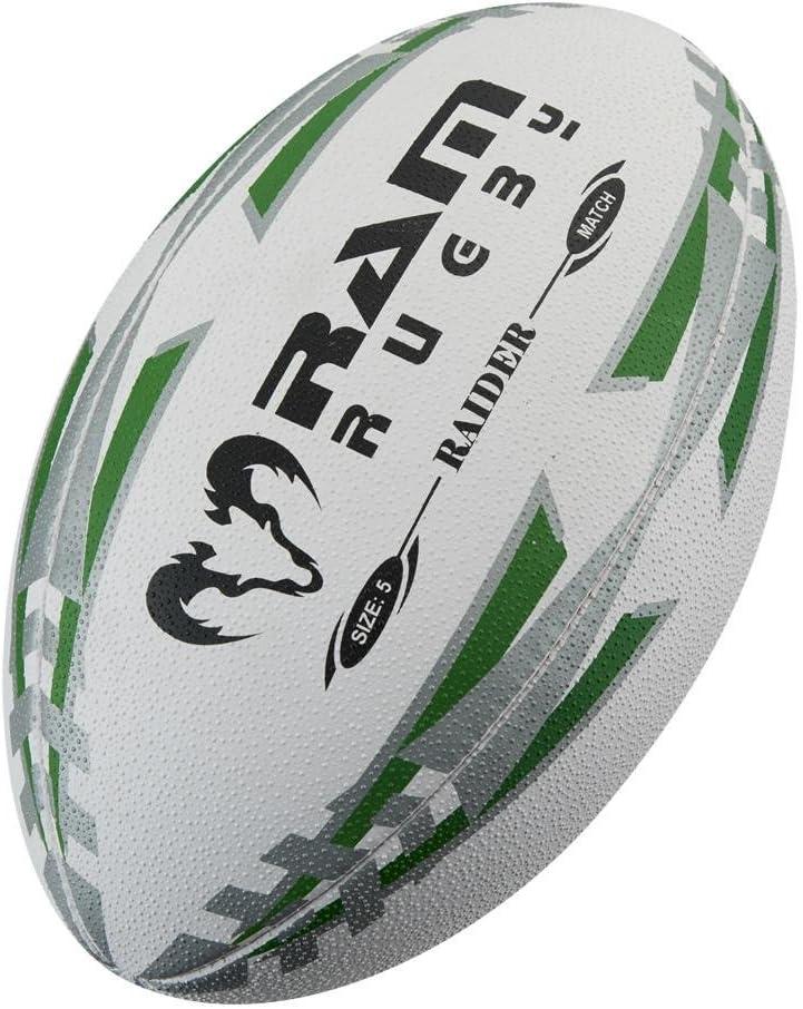 RAM Rugby Raiderラグビーボール – ブラック/レッド/ブルー/グリーン/イエロー/蛍光 – サイズ4と5 グリーン