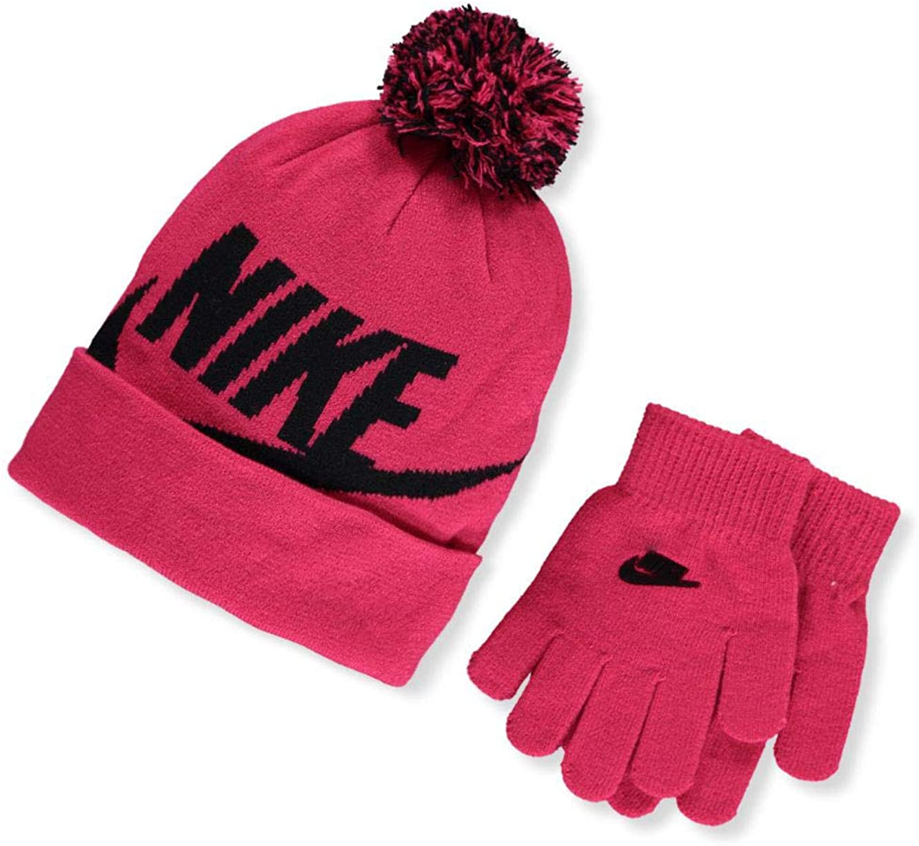 NIKE Kids/' Swoosh 8//20 Pom Beanie Hat and Gloves Set Rush Pink