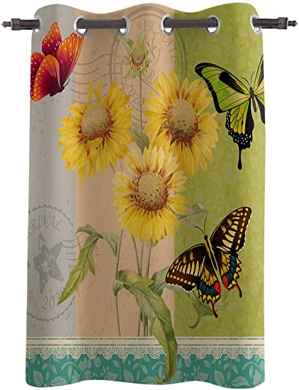 WARM TOUR Window Curtain Panel Sunflowers and Colorful Butterflies Printing Decor Durable Drapes