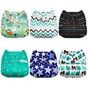 Mama Koala One Size Baby Cloth Pocket Diapers, Adjustable Washable And Reusable, 6 Packs + 6 Microfiber Inserts