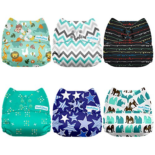 Mama Koala One Size Baby Washable Reusable Pocket Cloth Diapers, 6 Pack with 6 One Size Microfiber Inserts (Jagger) ()