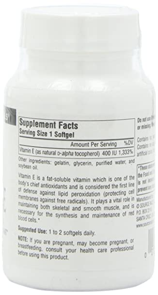 Source Naturals Vitamin E 400IU, Fat-Soluble Antioxidant, 100 Softgels: Amazon.es: Salud y cuidado personal