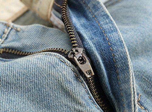 Jeans Pantaloni Uomo Patchato Strappati Da Blu Stile Corti Pantaloncini Elasticizzati Spiaggia Luce Yiiquan Distrutto Y6Iwgqq