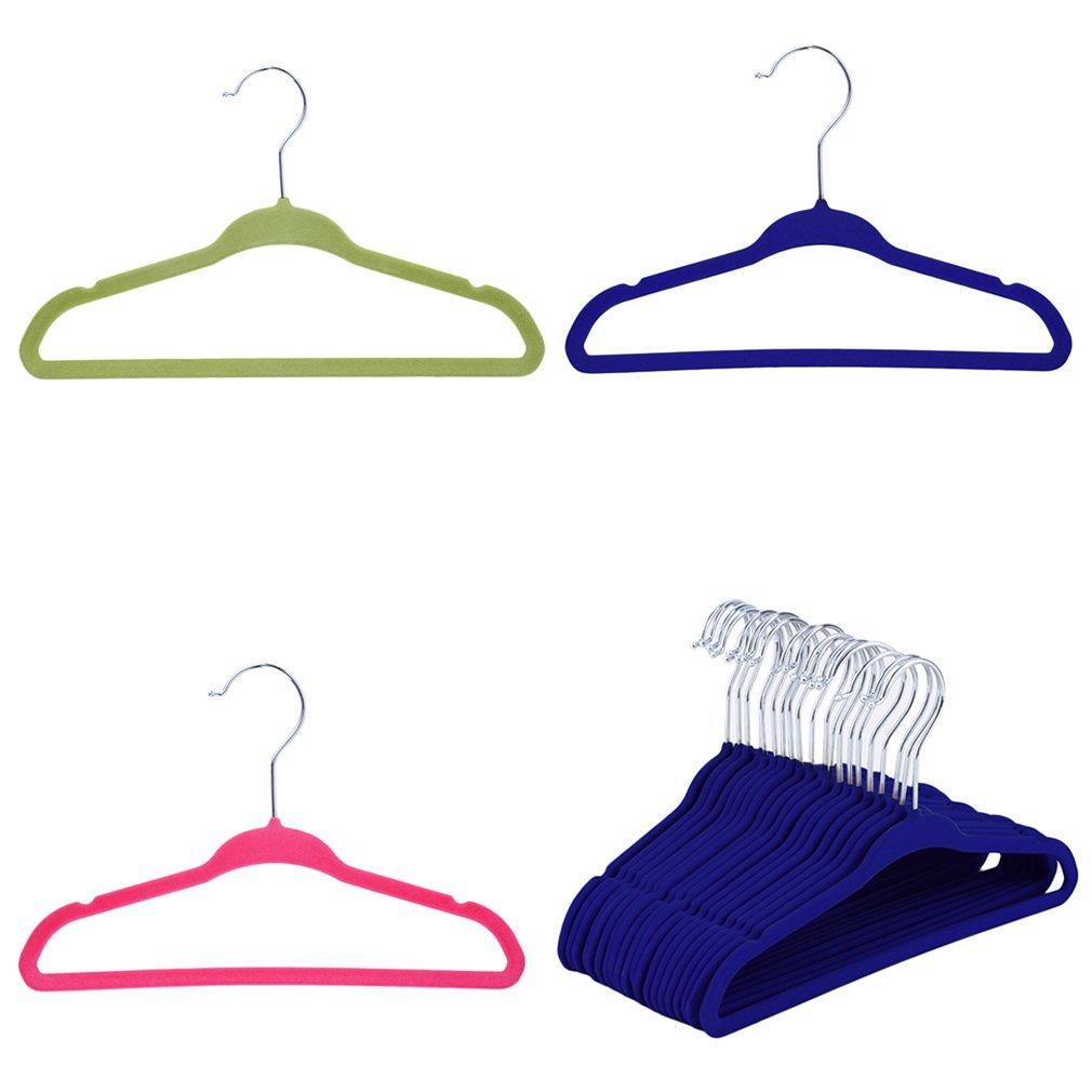 Small Clothes Hanger Belovedkai 20PCS Kids Baby Velvet Hangers Non Slip Blue Space Saver