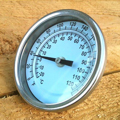 (Moonshine Distiller Premium Stainless Steel Bi-metal Thermometer - 3 Inch Dial, 1/2 Inch NPT)