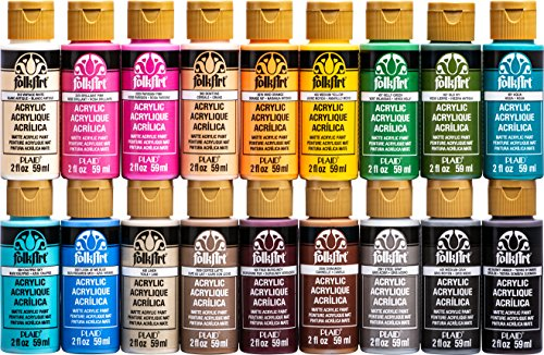 (FolkArt Acrylic Paint Set (2-Ounce), PROMOFAII Colors II (18 Colors))