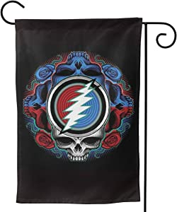 KUMI Grateful Seasonal Garden Flags 3D Printed Dead Skull Garden Yard Outdoor Decorations Double Sided American States Impressions Home Flag 12x18 Inch/28x40 Inch
