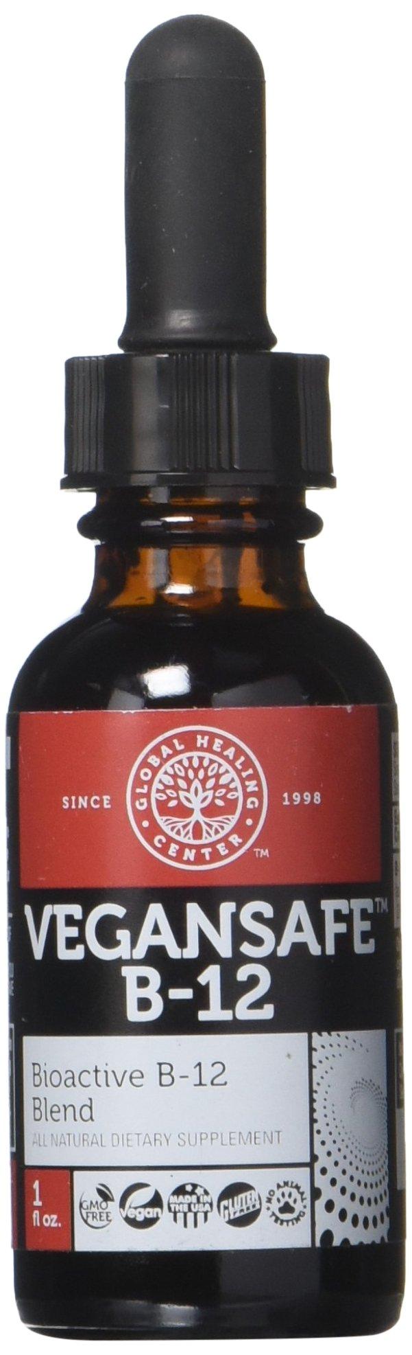 VeganSafe B-12 - Organic Liquid Vegan Vitamin B12 Methylcobalamin Adenosylcobalamin Supplement by Global Healing Center - 2,500 Mcg (1 Ounce)