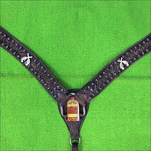 HILASON Western American Leather Horse Breast Collar Black Cross Gun Concho ()