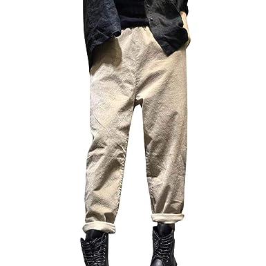 af7b5c25fadd6d Pantalon Cargo en Lin et Coton, GreatestPAK Poches élastiques pour ...