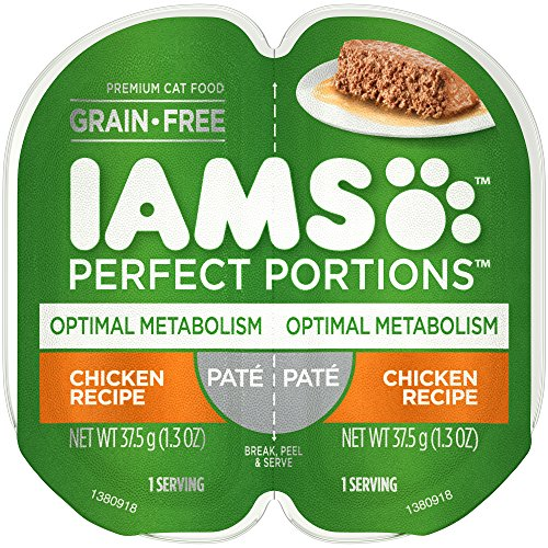 Iams Perfect Portions Grain Free Optimal Metabolism Wet Cat Food Paté Chicken Recipe, (24) 2.6 Oz. Twin-Pack Trays