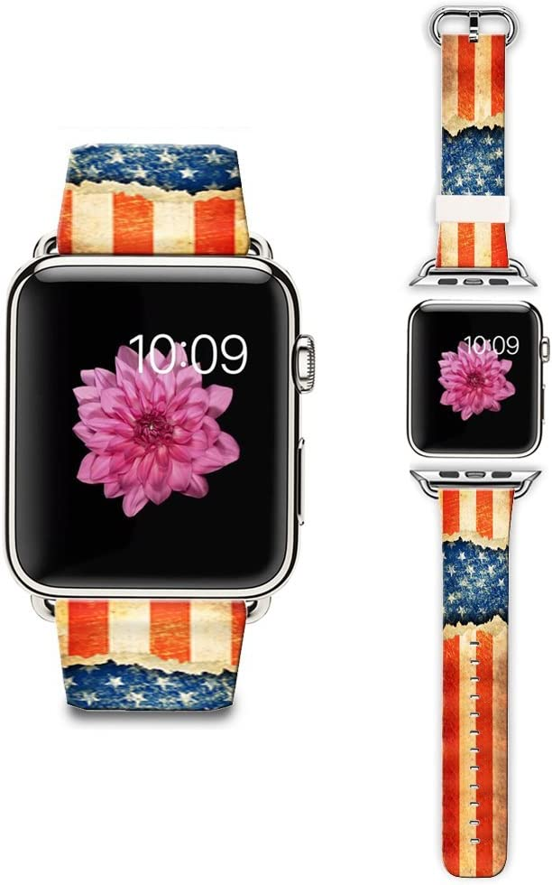 LAACO Band Compatible for Apple Watch 38mm 40mm, Floral Leather Replacement Strap for iWatch 38mm Series 5/4/3/2/1, Sports & Edition Retro Nostalgia Flag Design