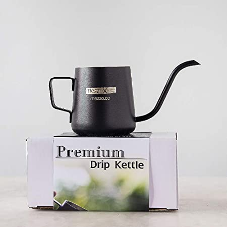 Mezzo X Stainless Long Spout Drip Kettle 8fl Oz, 240ml, Narrow Gooseneck Hand Pour Over Coffee Pot, Thick 304 Stainless Steel, Durable Black Teflon Coated. Thailand Import. by Mezzo Mezzo X