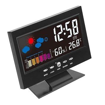 Electrónico Digital LCD Temperatura Humedad Monitor Reloj Termómetro Higrómetro Electrónico Interior Casa Pronóstico del tiempo Reloj: Amazon.es: Hogar