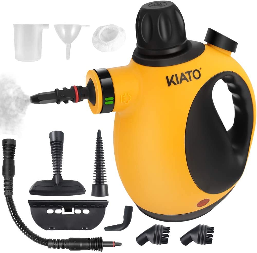 Kiato Steam for Cleaning, Handheld Steam Cleaner with 10-Piece Accessory Set, Handheld Steamer Cleaner for Home Use - Yellow