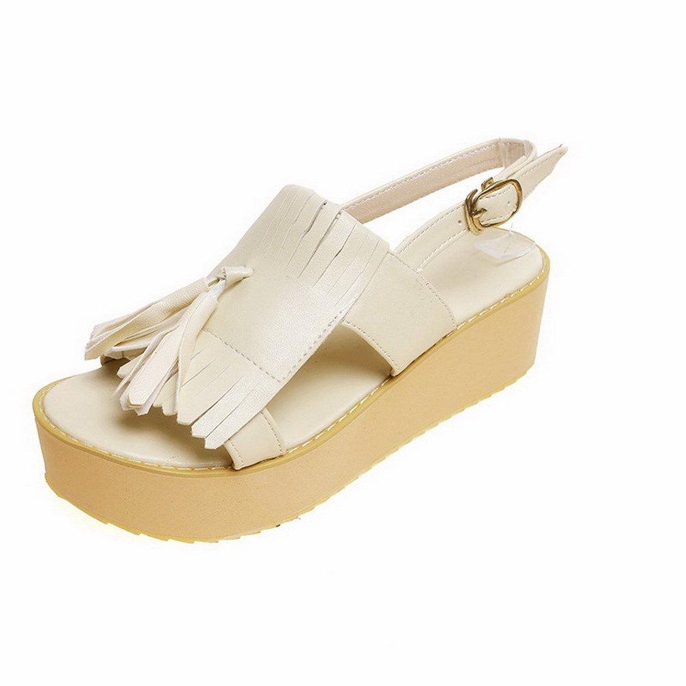 WeiPoot Women's Kitten-Heels Soft Material Solid Buckle Open Toe Flats-Sandals, Beige, 43