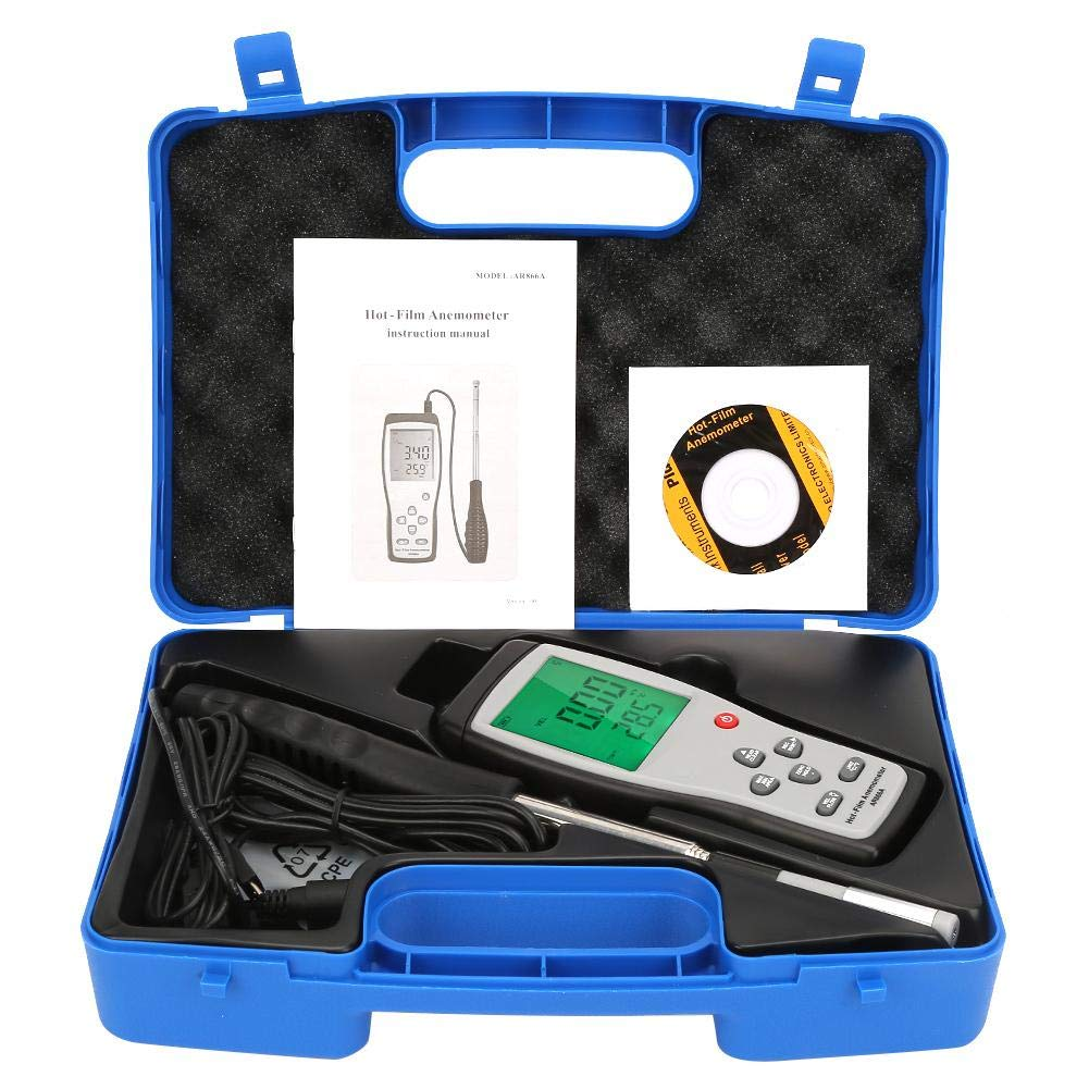 SMART SENSOR Anemometer, AR866A Hot Wire Anemometer Wind Thermometer Portable Digital Anemometer Hotwire 0-40m/s Wind Speed Temperature Air Flow Tester, Hot Wire Thermo Anemometer
