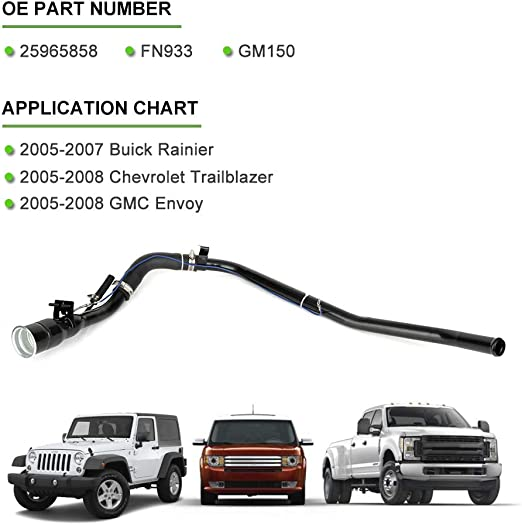 QUALINSIST 25965858 FN933 GM150 Gas Tank Fuel Filler Neck Hose Fit for 2005-2007 B-uick Rainier 2005-2008 C-hevrolet Trailblazer 2005-2008 G-MC Envoy