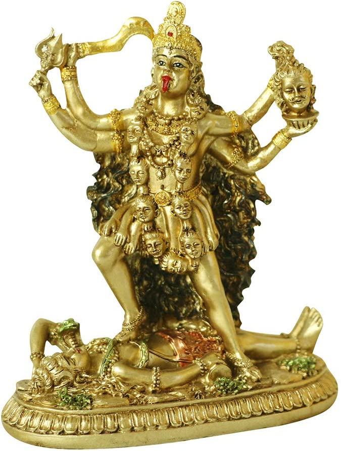 Antique Hindu God Kali Statue – Indian Idol Murti Pooja Buddha Figurine Home Temple Mandir Decor Religion Puja Decoration Item