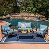 Cheap Great Deal Furniture Louise Outdoor 4 Seater Grey Wicker Chat Set with Teal Water Resistant Cushions