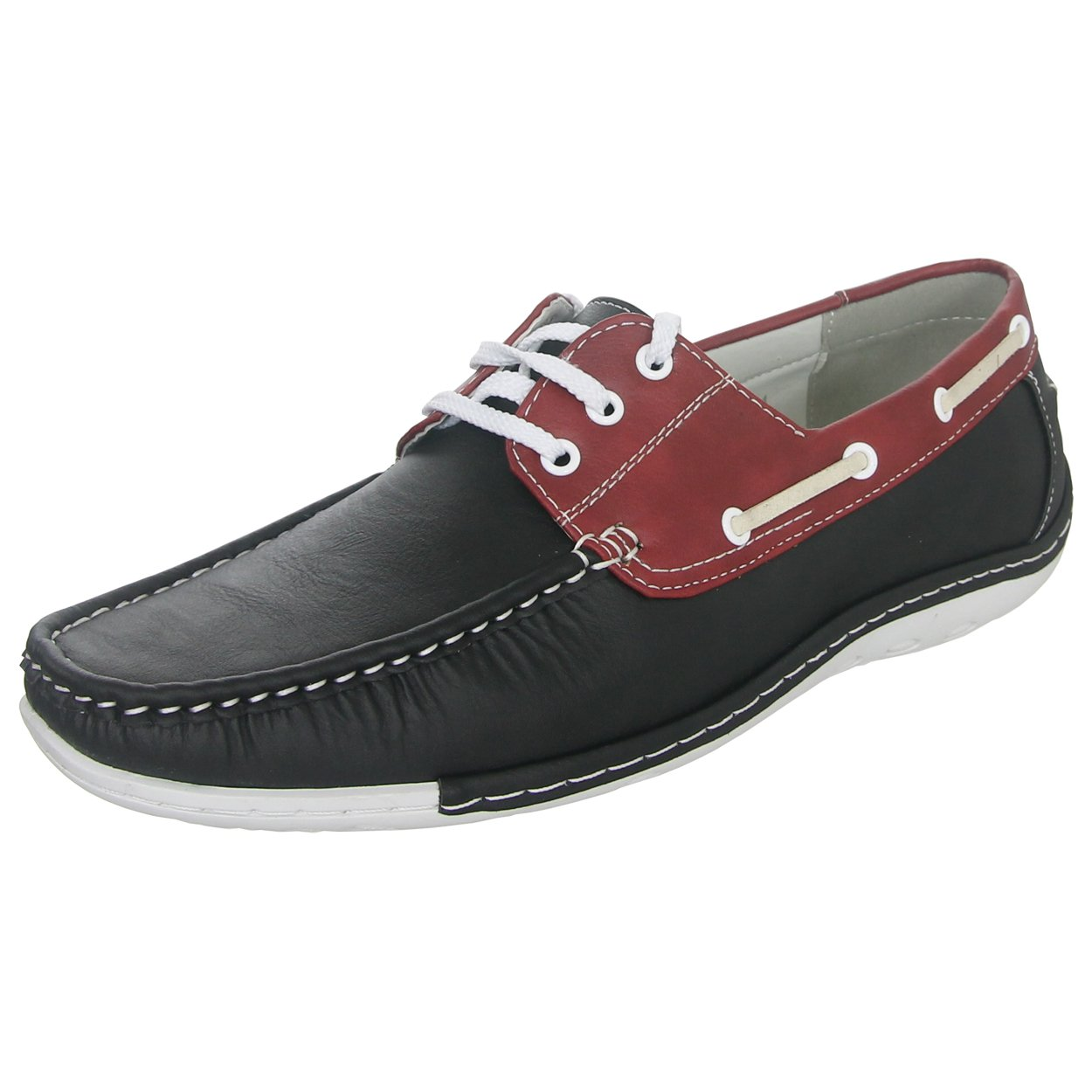 Zoyla Italia Men's Boat Shoe B0757X8RR1 11 D(M) US|Black/Red