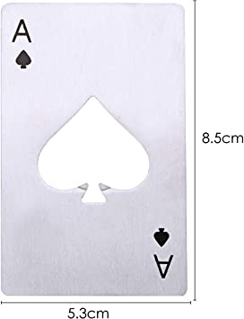 Pik As Pokerkarte Spielkarte Edelstahl Flaschenöffner Glücksbringer Bar Bier 05