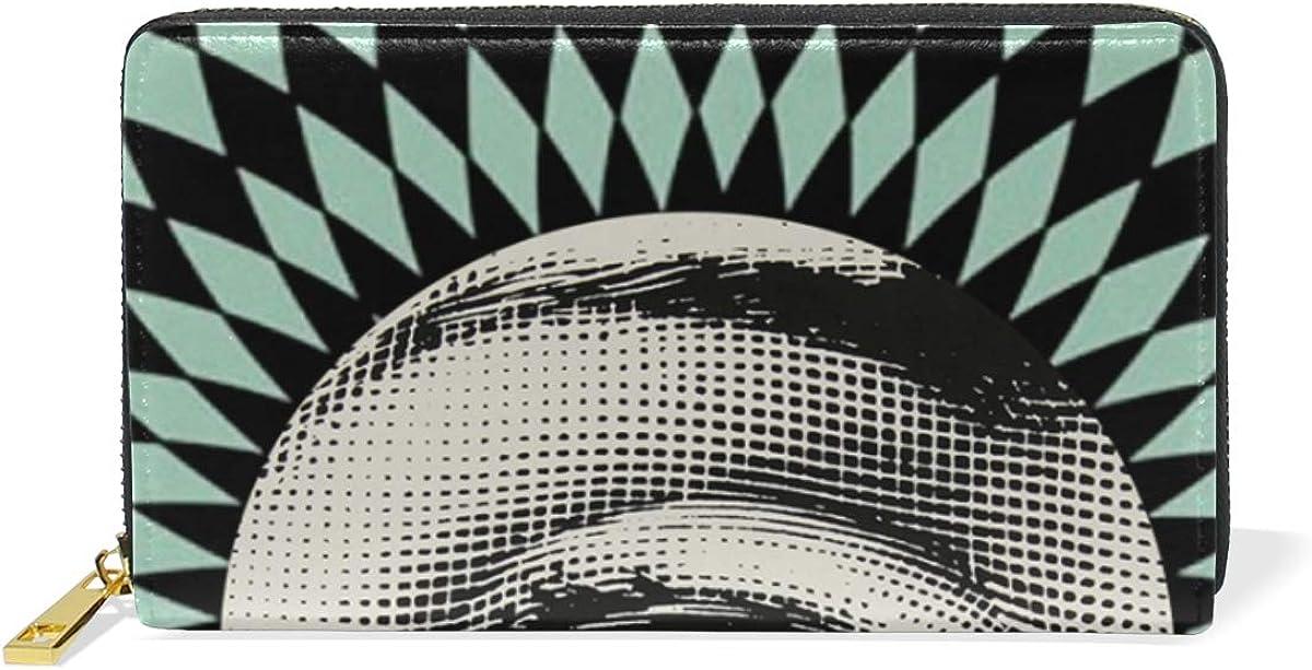 DEZIRO Vertiginous Eyes Pattern Lady Purse Zip Around Credit Card Case