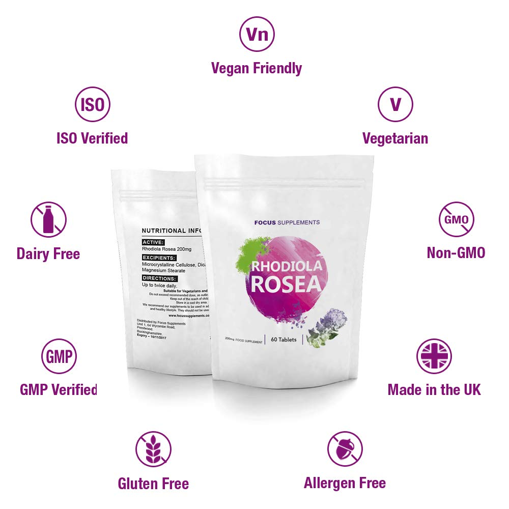 Rhodiola Rosea 200 mg Comprimidos de Focus Supplements- Fuente de Alta Calidad de Rosavin y Salidrosida | PÉRDIDA DE PESO Y AUMENTO DE ENERGÍA | ...