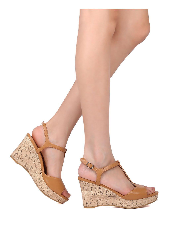 Mark and Maddux Women Leatherette Open Toe T-Strap Platform Wedge Sandal HJ01 B072DR2JFM 9 M US Cognac Leatherette
