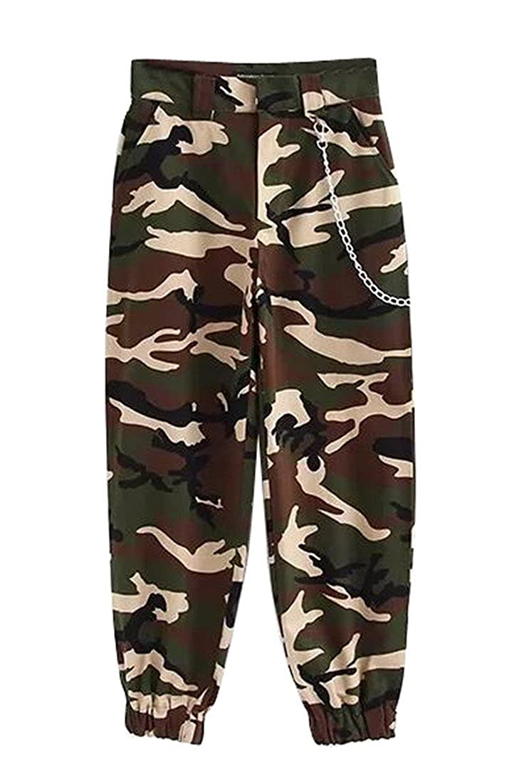 WANSHIYISHE-Women Casual Fit Solid Color Loose Twill Cargo Pants