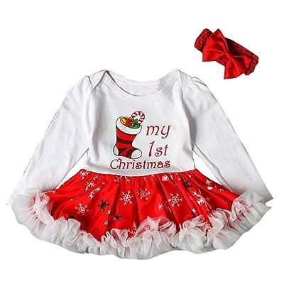 857cba75038d8 BOZEVON Bébé Fille Vêtement Jupe Barboteuse Noël Costume Gamins Nouvel An  Combinaison Tutu Princesse Fantaisie Fête