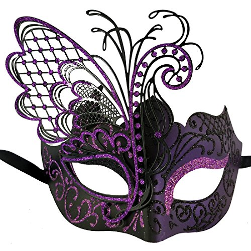 Xvevina Purple Black Masquerade Mask for Women Venetian Mask Masquerade Dress Favor (Butterfly Black&Purple)