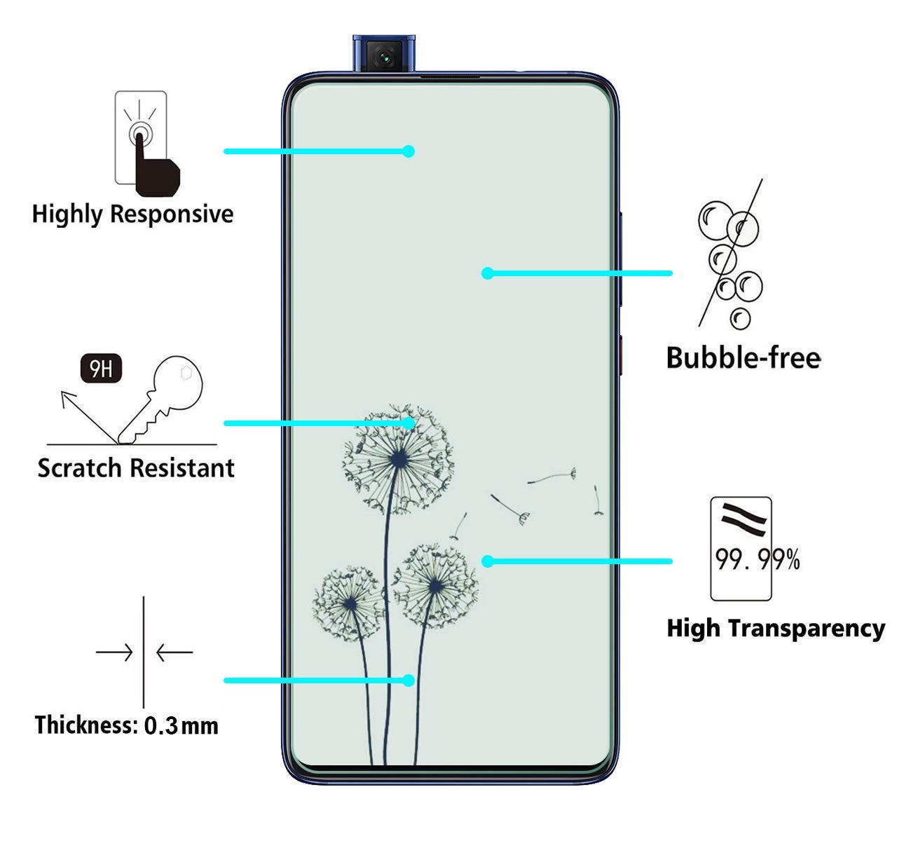 Cafwly 3 Unidades Protector de Pantalla para Xiaomi Mi 9T //Xiaomi Mi 9T Pro,Cristal Templado para Xiaomi Mi 9T //Xiaomi Mi 9T Pro Fcil de Instalacin Ara/ñazos Resistente Alta Definicion