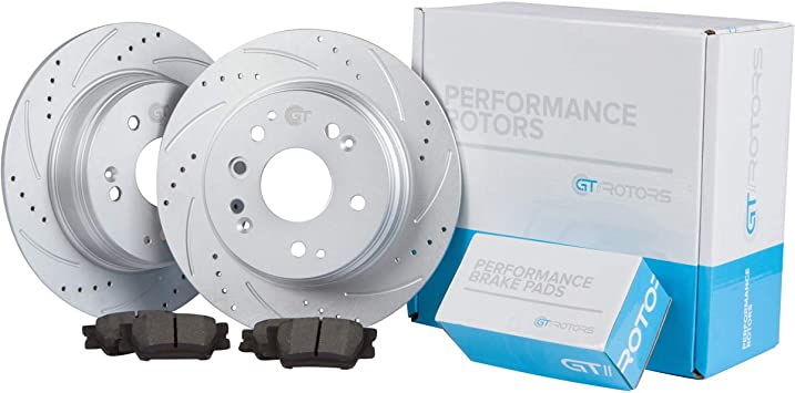 Front Brake Discs Rotors Ceramic Pads For Ford Mustang 2005-2010 Drill and Slot