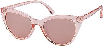 SIX Damen Cat-Eye Sonnenbrille in durchsichtigem rosa mit verspiegelten Gläsern (324-231)
