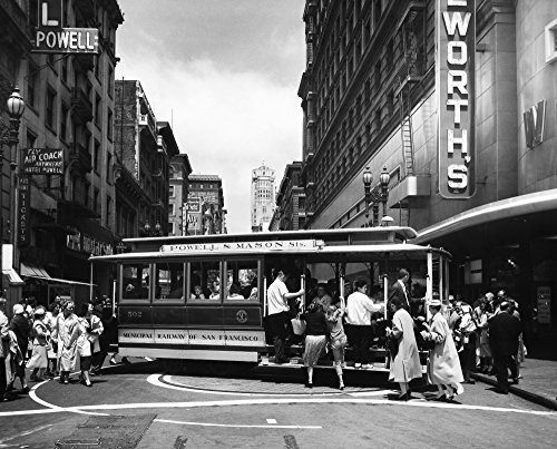 San Francisco Cable Car Na Cable Car On The Turntable At The Intersection Of Powell And Market Streets In San Francisco California Photographed C1950 Poster Print by (18 x ()