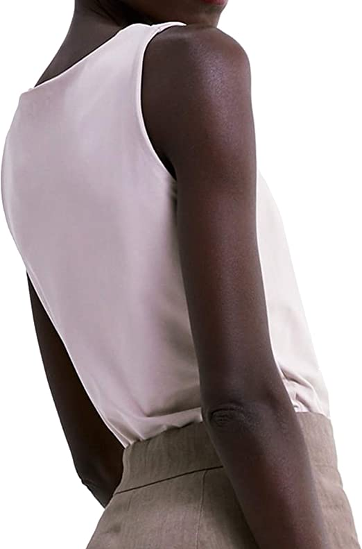 Zara 0264/531 - Camiseta de Tirantes Anchos para Mujer Beige ...