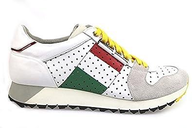 8fc07a1ae42b6d Chaussures Homme BARRACUDA sneakers blanc cuir daim AP596 (44 EU ...