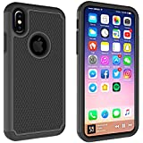 iPhone X 2017 Case, Daker [Anti-Slip ][Heavy Duty] Three Layers Rugged Hybrid Hard PC Soft Silicone Rubber Shockproof Armor Defender Full-Body Protective Case For Apple iPhone X (Black)